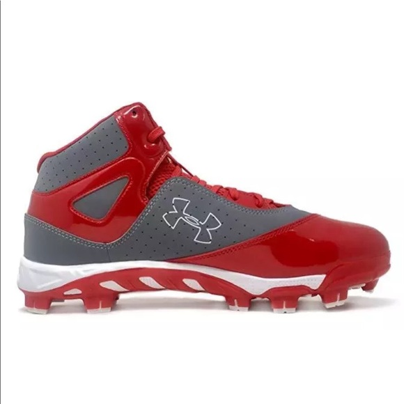 Under Armour Micro G Mid Cleats Men/'s Red//White New Multiple Sizes